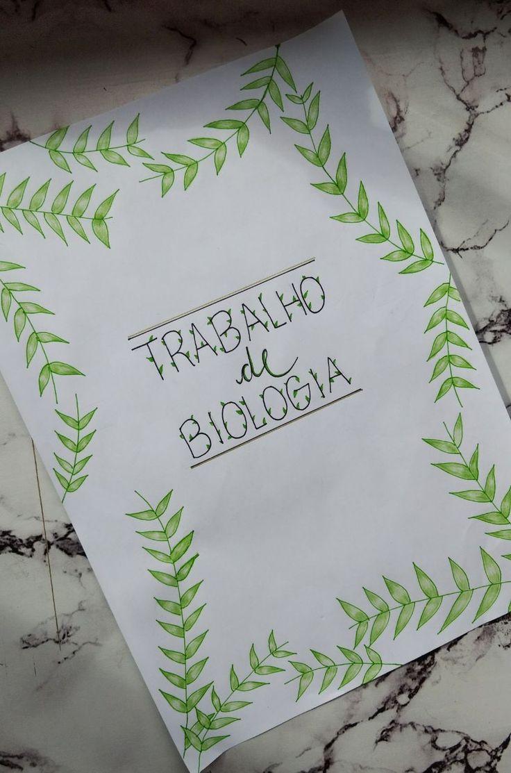 Ideia de capa de trabalho escolar de Biologia