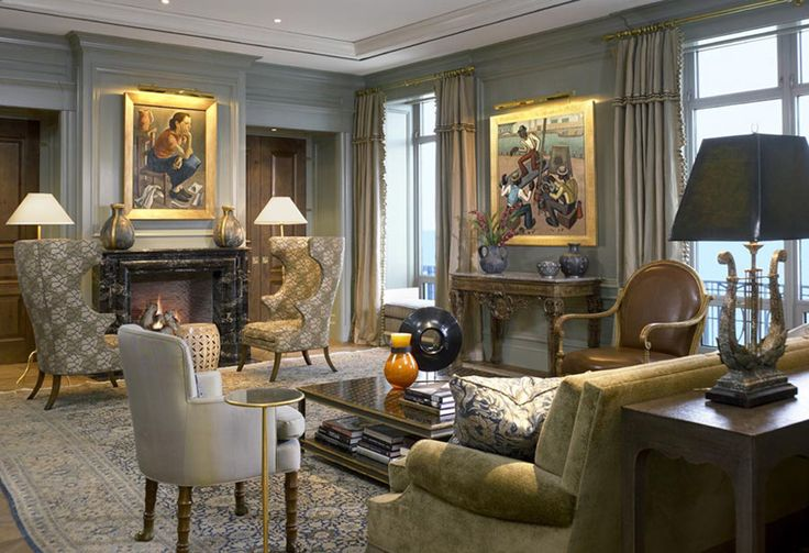 Grey/Taupe color scheme to set off art:  Summer-thornton-design-inc-interiors-art-deco-eclectic-modern-traditional-transitional-family-room-great-room-living-room