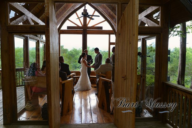 The Williamson's from Mississippi in Greeneville Tennessee at the Glass Chapel to be married. A small wooden and glass church in the woods above a lake.