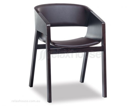 Merano Coffee Stained Timber Dining Chair w Espresso Pad relaxhouse.com.au