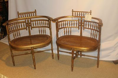 Victorian Stick And Ball Gilded Ballroom Pair Of Caned