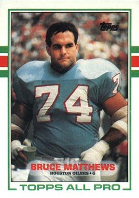 Bruce Matthews topps football 1985 card | on card bruce matthews card number 91 year 1989 set name 1989 topps ...
