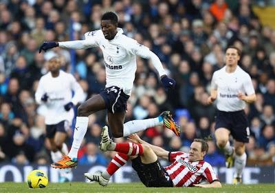 Prediksi Tottenham Hotspur vs Sunderland Liga Inggris 2012/2013. Prediksi Skor Tottenham Hotspur vs Sunderland yang akan berlangsung Minggu, 19 Mei 2013, Pukul 22.00 WIB, White Hart Lane, London.  Dari 10 pertemuan terakhir kedua tim di Premier League, Tottenham Hotspur meraih lima kemenangan, tiga kali seri, dan dua kali menelan kekalahan kala kontra melawan Sunderland. Pertemuan terakhir keduanya Desember 2012 lalu berakhir dengan skor 1-2 untuk kemenangan tim tamu Tottenham.