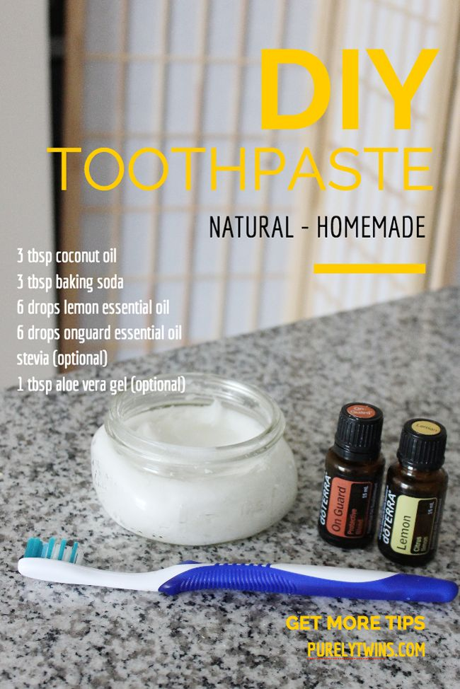 What we clean our teeth with to keep cavities away! A simple money saving DIY natural toothpaste! Made from coconut oil, baking soda and essential oils! Read more about this great toothpaste over on purelytwins.com. This is fun to make and you will have healthy teeth!