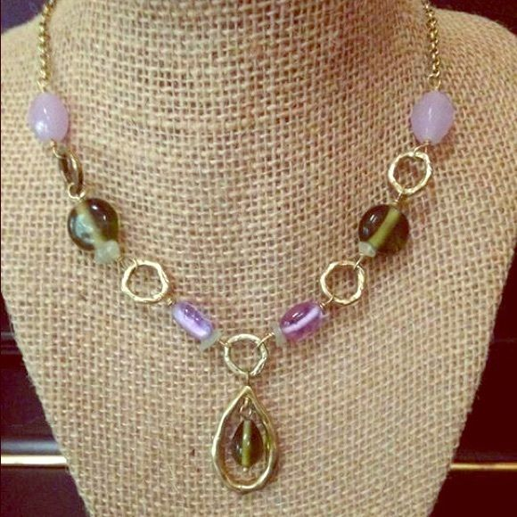 """Lia Sophia Y necklace Gold Lia Sophia """"Y"""" necklace with green & purple beads, never worn, NWOT, adjustable 15""""-18"""" long Lia Sophia Jewelry Necklaces"""