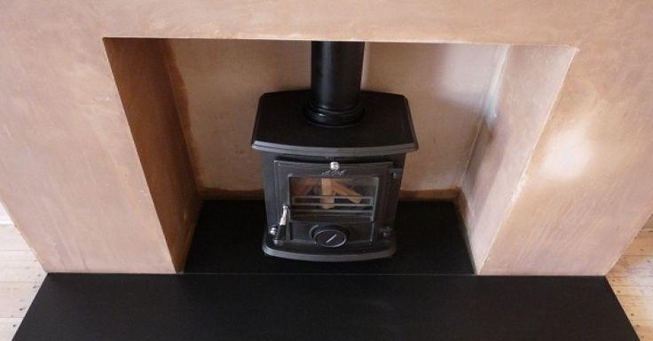 Aga stove on black hearth
