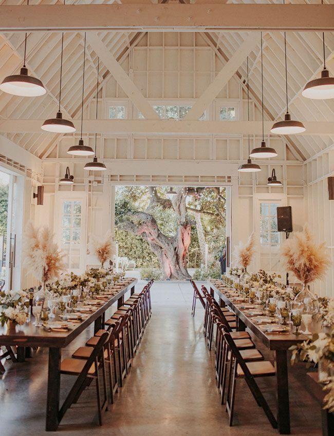 Get The Look A Modern Farmhouse Venue In Los Angeles Barn Wedding Venue Wedding Venue Decorations Farmhouse Wedding