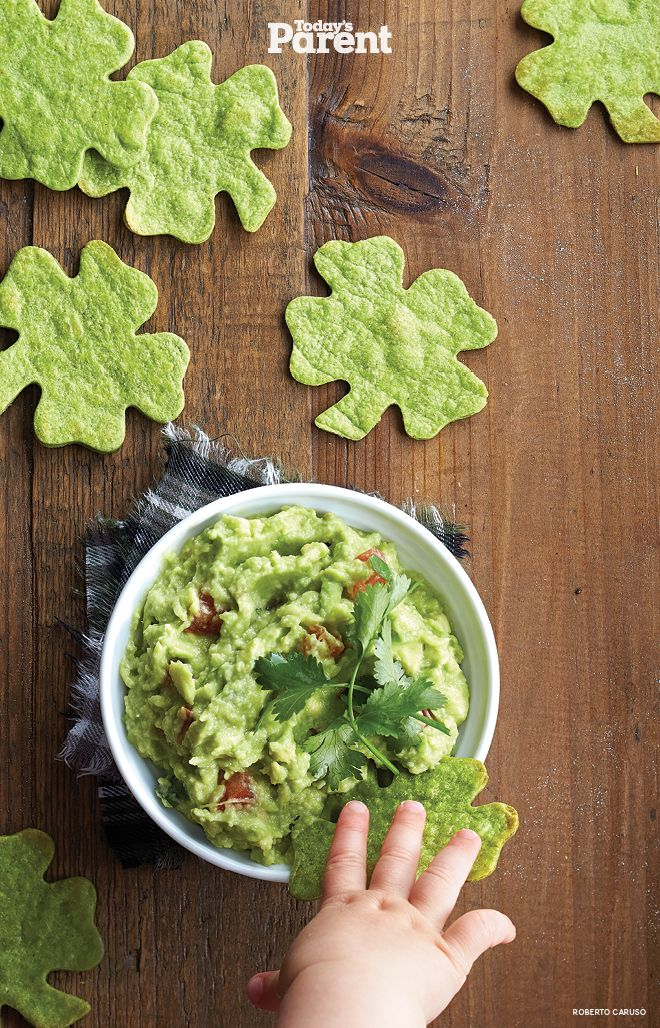 Crispy clovers with guacamole