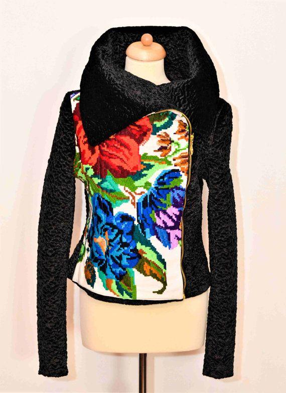 Folk Jacket Unique Jacket Winter Jacket Black Fur Eco by YesADress
