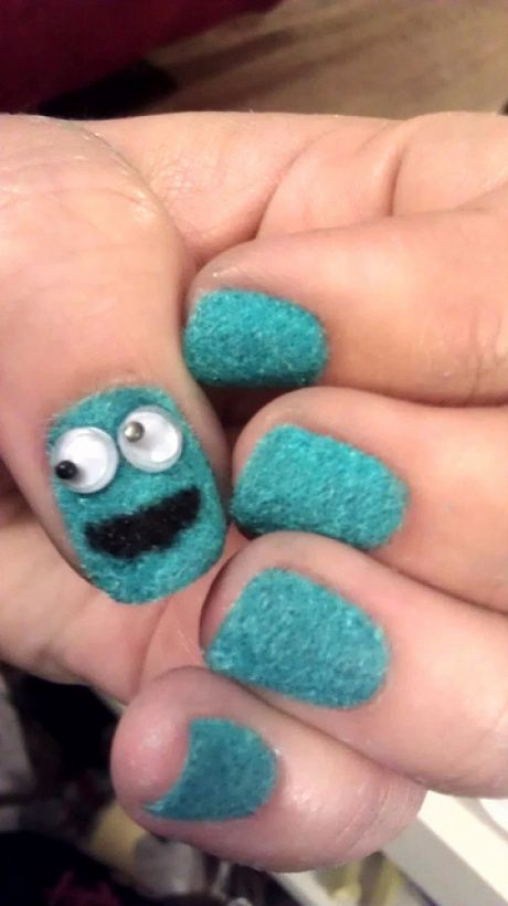 Cookie monster nails with googly eyes and flocking powder. Oh my god, the cuteness is overwhelming.