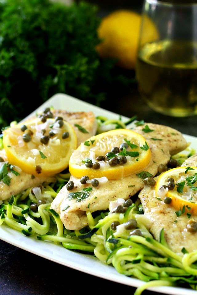 A lighter twist on the classic lemony chicken, this healthy chicken piccata recipe is full of zesty flavor and served over zucchini noodles.