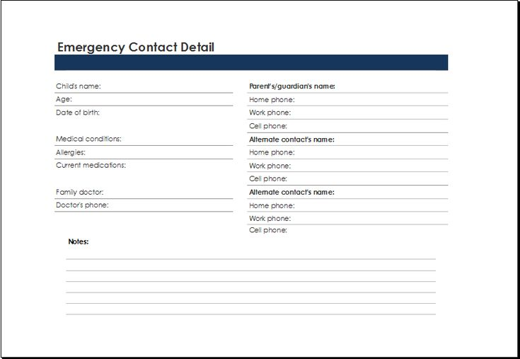 emergency contact list template at xltemplatesorg Microsoft - cash receipt voucher word format