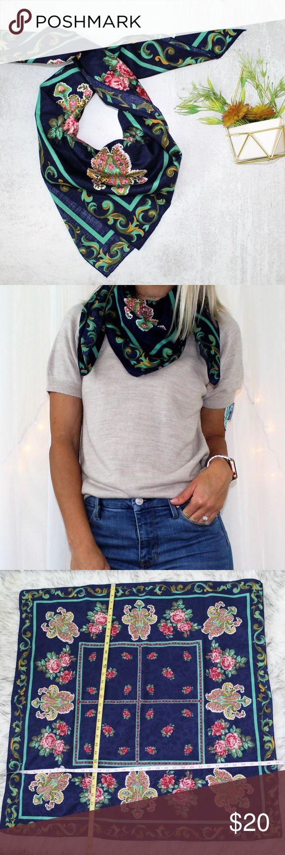Floral Square Navy Scarf/Head Wrap Accessory Floral Square Navy Scarf/Head Wrap …   – My Posh Picks