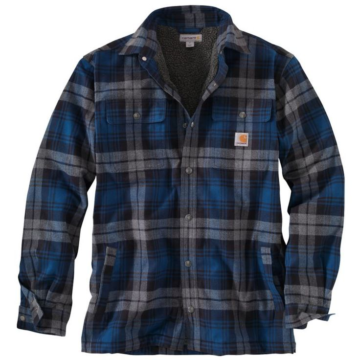 Carhartt Men's Hubbard Sherpa-Lined Shirt Jacket, Size: Large, Blue