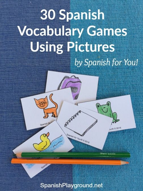 Spanish vocabulary games with pictures engage kids in fun, active learning. 30 vocabulary games with printable instructions, free picture cards and audio.