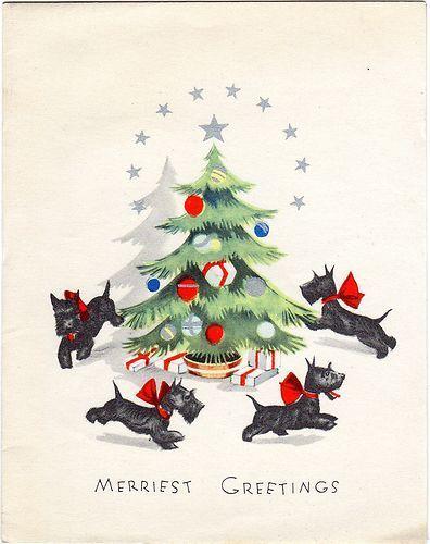 RARE Art Deco Xmas Greeting Card Ornaments Scotty Dogs Playing Around Tree   eBay: