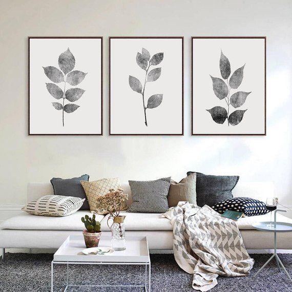 Living Room Wall Decor Gray Wall Decor Leaves Wall Art Grey