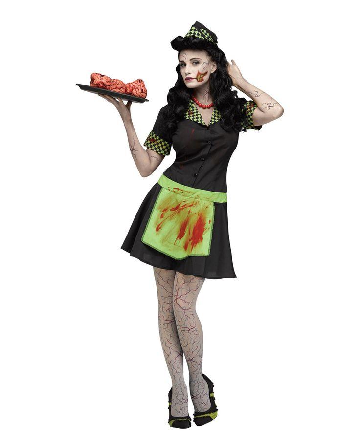 50er Jahre Zombie Kellnerin Kostüm | Günstig Zombie Walk Kostüme kaufen! | horror-shop.com #Zombie #ZombieCostumes #Halloween #HalloweenCostumes