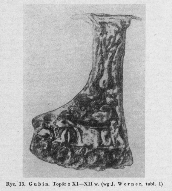 """Axe find from Gubin, Poland / 11th-12th century Source: Wanda Tarnowska: """"Topory wczesnośredniowieczne z obszaru Śląska"""", Światowit 24, 1962"""