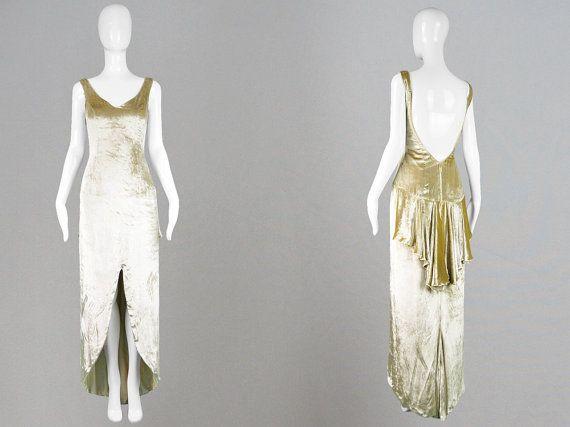 RÉSERVÉ des années 90 DAVID FIELDEN Couture or velours robe en velours de soie robe de soirée robe de mariée robe dos nu asymétrique années 1930 or