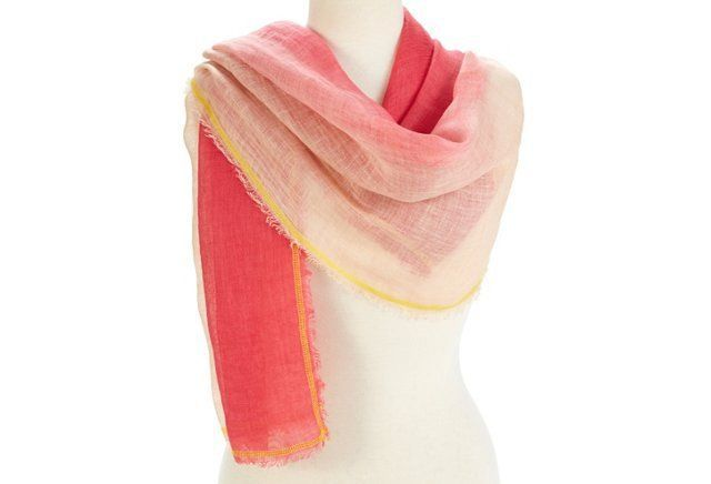 January...Linen Ombré Neon Scarf, Pink/Rose