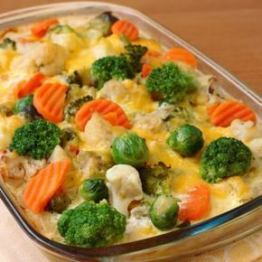 California Casserole. == THIS IS A VEGGIE CASSEROLE. USE BROC., CAULIFLOWER, DICED ONION, YELLOW SQUASH, BABY CARROTS IN A CHEESY CELERY SOUP SAUCE. ===