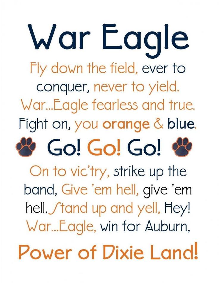 Auburn Fight Song as Subway Art. #WarEagle
