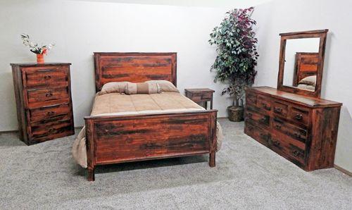 4 PC Rustic Santa Cruz Rough Cut Queen Size Bedroom Set