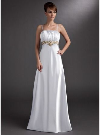 Empire Floor-Length Charmeuse Evening Dress With Embroidered Ruffle Beading