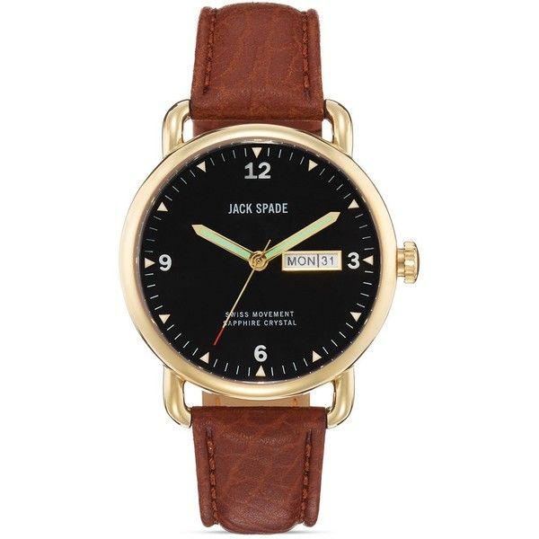 Jack Spade Buckner Brown Leather Watch, 42mm found on Polyvore