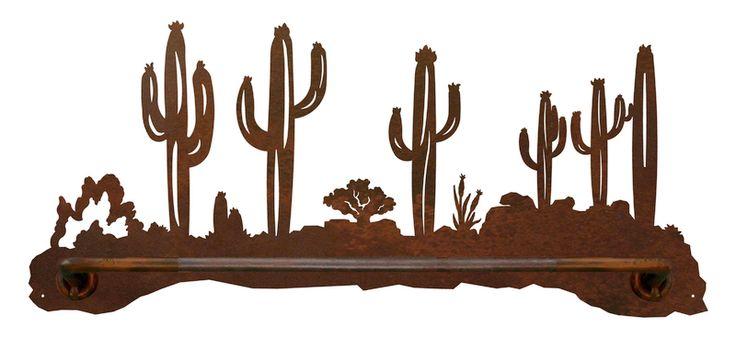 Ironwood Industries Desert Cactus Southwest Scenic Hand Towel Bar southwestern rustic western bathroom decor american made cowboy decor