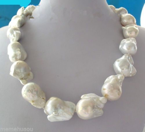 """Large 26mm White Unusual Baroque Pearl Necklace Disc Clasp 18 """" 