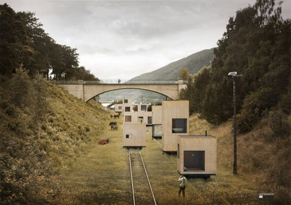 Master Plan For Åndalsnes / these movable houses are part of architecture firm Jågnefålt Milton's proposal for a Norwegian city. the whole project is definitely worth a look!