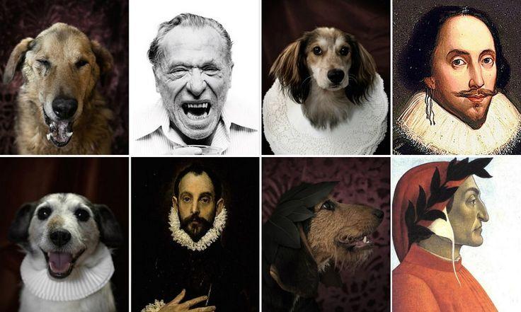 Fotógrafo cria série mostrando a semelhança de cães de abrigo com autores famosos