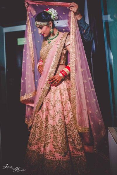 Bridal Lehengas - Pink and Bronze Lehenga with Double Net Dupatta | WedMeGood#wedmegood #indianbride #indianwedding #bridallehenga #pink #bronze #lehenga #indianlehenga #weddinglehenga