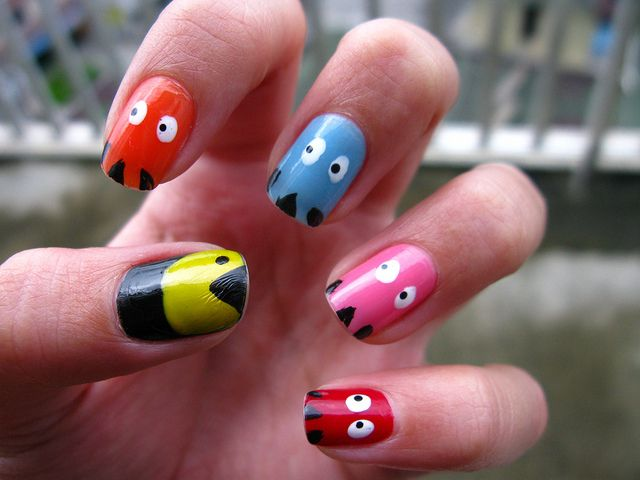 Nail art:  Pacman and ghosts nail art design: Nailart, Pac Man Nails, Naildesign, Nails Ideas, Nail Design, Nails Art Design, Cute Nails Design, Pacman Nails, Nails Designs