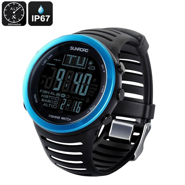 Sunroad FR720 5ATM Fishing Watch - Track 6 Locations, Air Pressure, Temperature, Water Depth, Weather Forecast, Altimeter, IP67 - The Sunroad FR720 5ATM Fishing Watch is capable of tracking 6 of your favorite fishing locations at once. Comes with a thermometer, barometer, IP67 design and more.