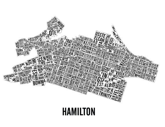 Hamilton Ontario Neighborhoods City Map Hamilton Art by CNDPrints