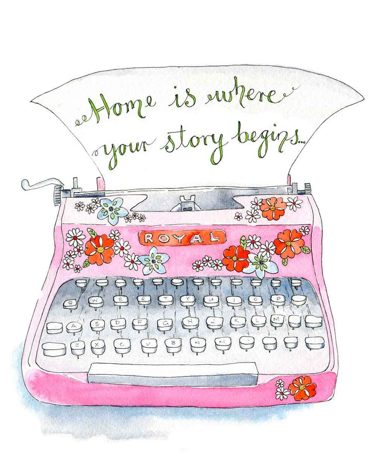 "Typewriter Typography Illustration Art Print Pink  "" Home"" Poster 8"" x 10"" Vintage Style. $22.00, via Etsy."