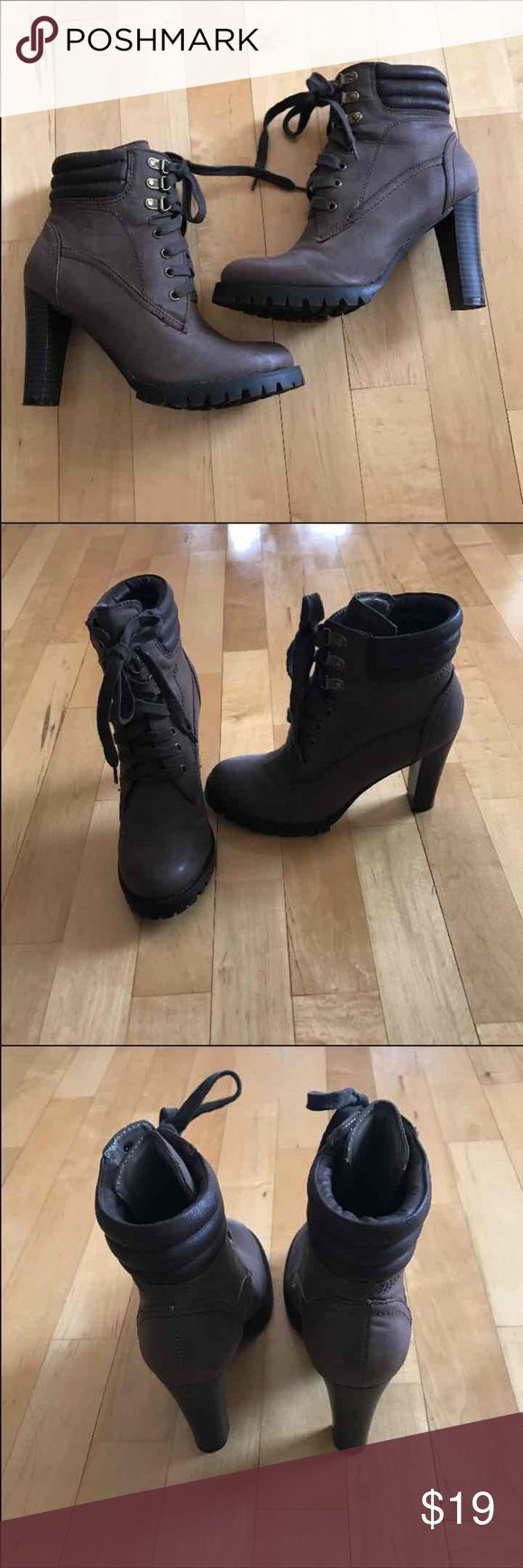 LACE UP BOOTS - (NWOT) Brown Laced Up Boots Size 6.5  with a 4inch heel. These are brand new and have never been worn they are by Two Lips.💋 #Combat Boots Bebe Yvette,  LF, Wallis, Steve Madden, Madden Girl, Timberland,  Jeffery Campbell Cors (FOR EXPOSURE) Two Lips Shoes Ankle Boots & Booties