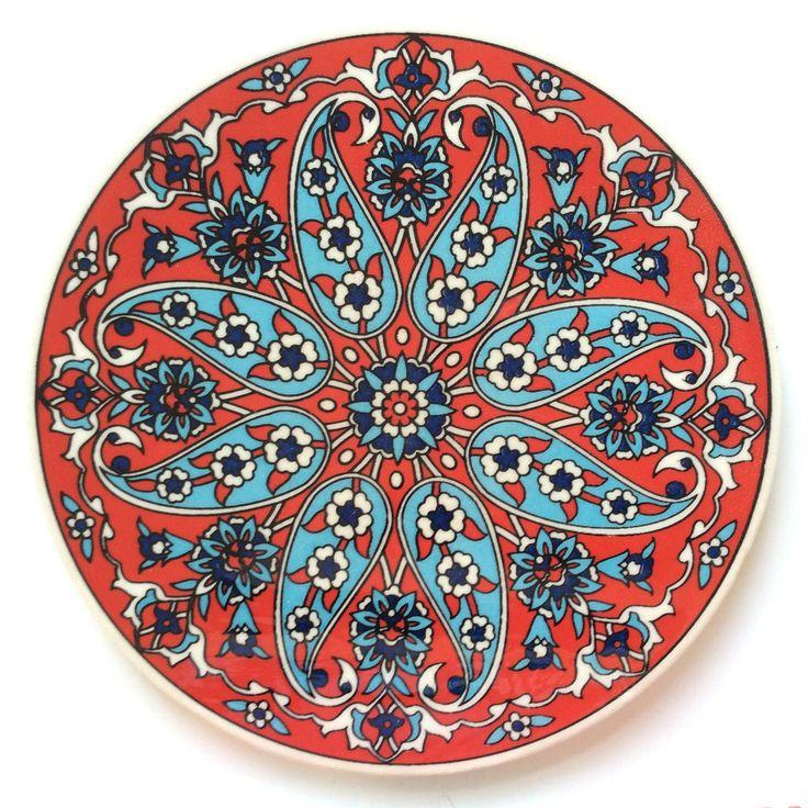 Red Ceramic Trivet Iznik design