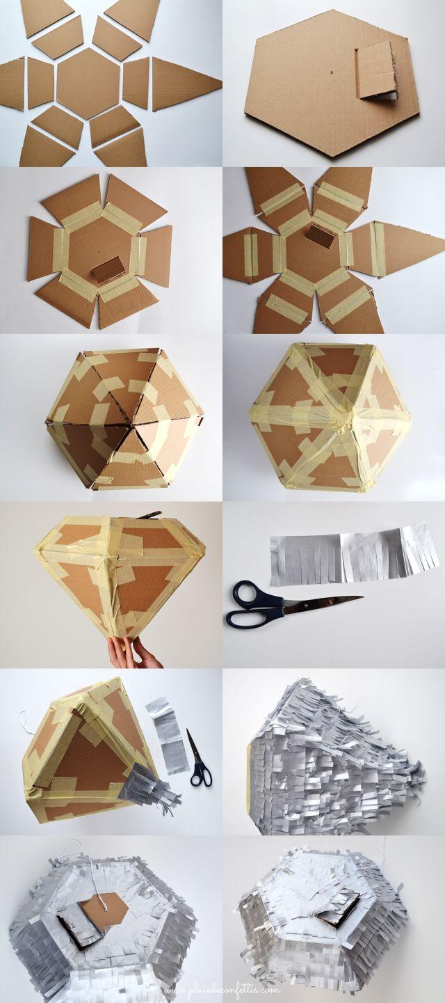 DIY pinata diamant pour fête géometrique - DIY diamond piñata - DIY piñata diamante para fiestas geometricas