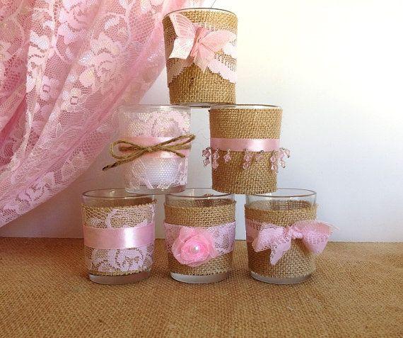 6 burlap and pink lace 10 hour tea candles wedding decor, bridal shower decor home decor ADORABLE!!!