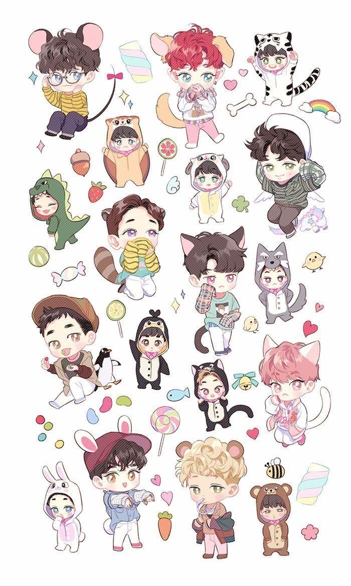 Chibi Bts Wallpapers Wallpaper Cave For Exo Cartoon Wallpapers Hd Ilustrasi Karakter Chibi Kartun Bts anime wallpaper cave