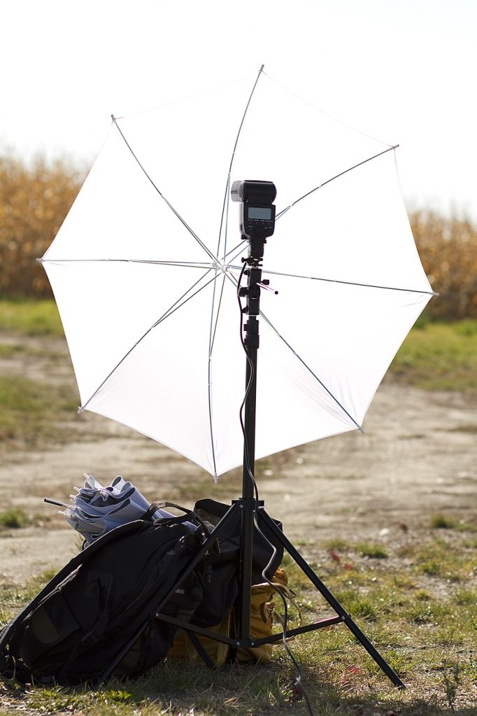 Great step-by-step of using one light with umbrella outdoors in bright sun light. (A Place for Photographers blog)
