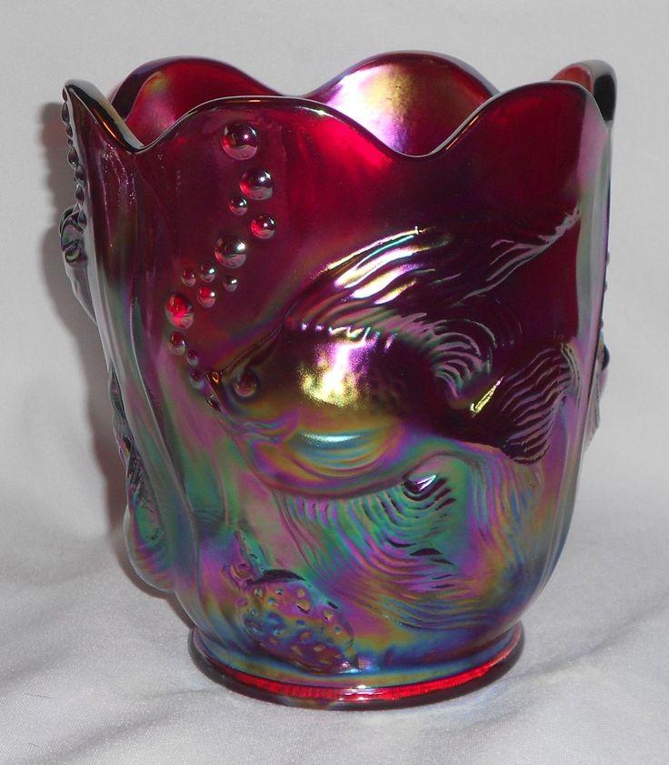*FENTON ART GLASS:   Red Carnival Atlantis Vase
