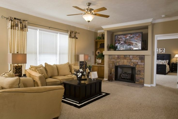 Living room fireplace with built in entertainment center for Drywall designs living room