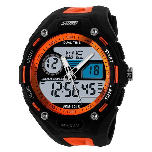ufengke® modo freddo doppio display sport all'aperto alpinismo orologio elettronico impermeabile per gli uomini, gli studenti moda multifunzionale quarzo orologio da polso, arancione