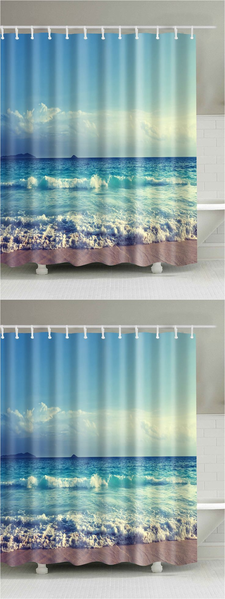 $17.25 Ocean Print Waterproof Mouldproof Shower Curtain