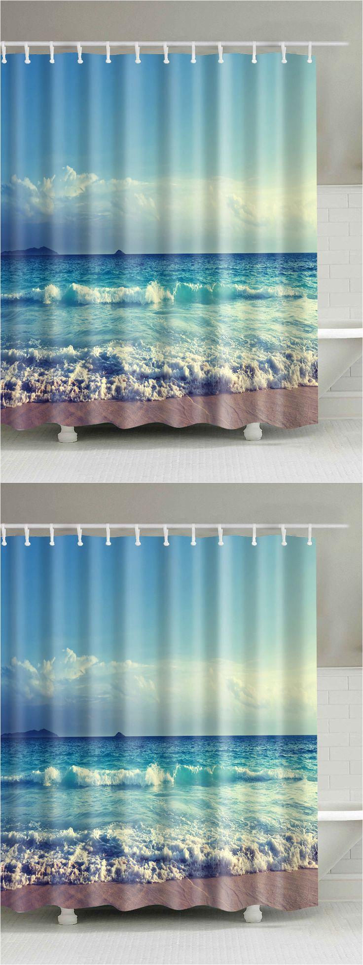 Beachy shower curtains -  17 25 Ocean Print Waterproof Mouldproof Shower Curtain